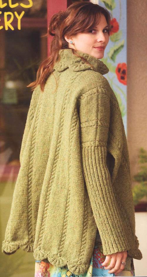 Poncho Jacket Knitting Pattern : Simply Shetland 4 - Leaf Poncho Jacket