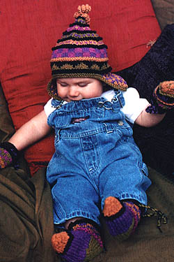 Funky Bits Hat, Mitts & Slippers